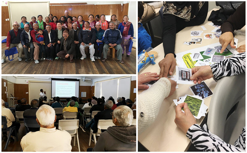 Top left: Nepalese community group.  Bottom left: Tamil community group listending to a presentation from a specialist waste educator.  Right: Arabic language group working on a waste and recycling activity.  Source: Cumberland Council.