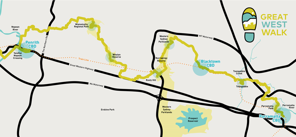 Great West Walk map from Parramatta to Penrith.