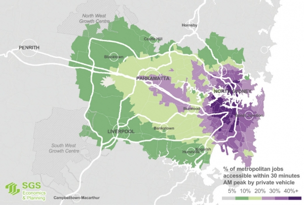 Map showing percentage of jobs available to residents via a 30 minute car trip across Greater Sydney.