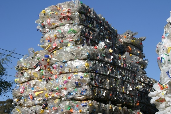 Bundled plastic bottles at a recycling facility.