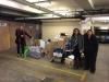 Teachers from Granville Performing Arts High School collecting donated items.