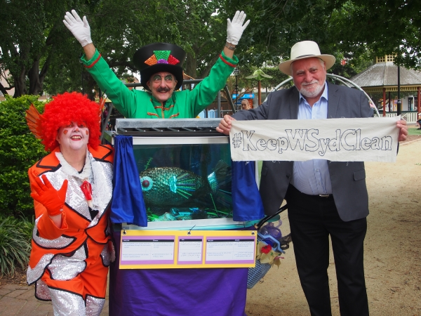 WSROC President, Cr Barry Calvert, with street performers at Richmond Park, Hawkesbury