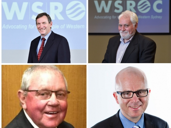 Clockwise from top left: Blacktown Mayor Stephen Bali, Hawkesbury Mayor Barry Calvert, Blue Mountains Mayor Mark Greenhill, Lithgow Mayor Ray Thompson