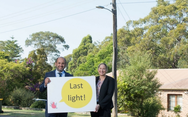 WSROC President Cllr Tony Hadchiti and Light Years Ahead Project Manager Michelle Playford near one of the final LED street lights