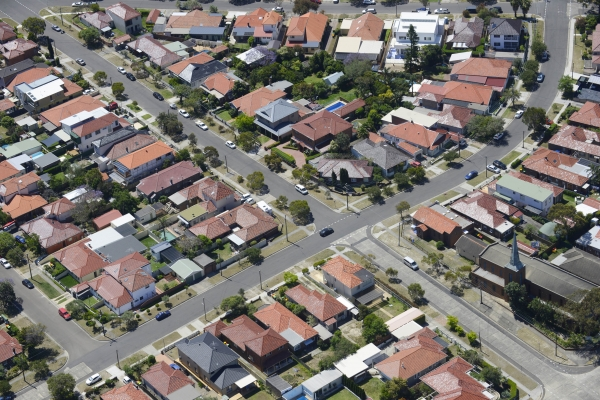 Aerial view of Western Sydney housing affected by heatwave