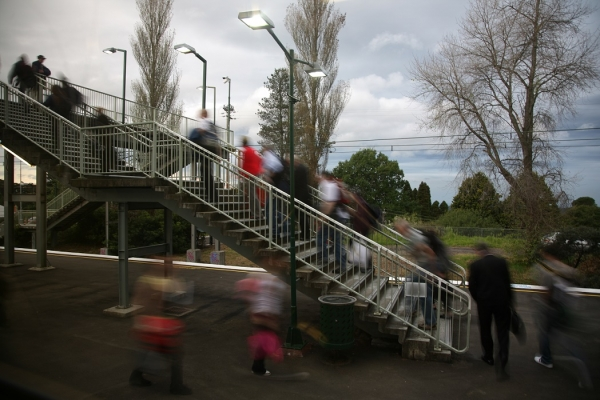 Commuters at Emu Plains train station.