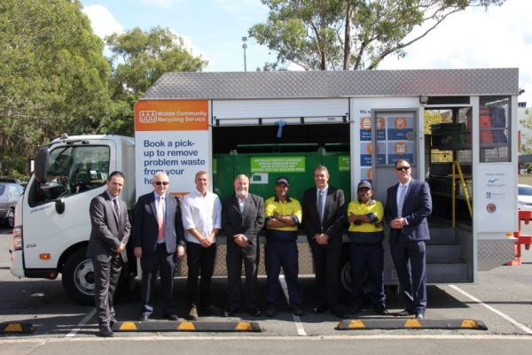 Launch of joint Mobile Community Recycling Service between Auburn, Holroyd and Parramatta City Councils. Left to right: Daniel Anderson, Senior Waste Management Officer, Holroyd City Council; Hamish McNulty, Deputy General Manager, Auburn City Council; Andrew Douglas, Business Development Manager RRA; Cllr Greg Cummings, Mayor of Holroyd City Council; Phil Fernando, RRA Problem Waste Operational Staff; Ray Williams MP, Parliamentary Secretary to the Premier for Western Sydney; Shannon, RRA Problem Waste Operational Staff; and Ian Denker, Deputy General Manager, Auburn City Council.