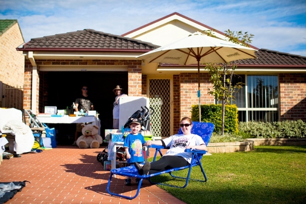 Garage sale in Sydney suburbs.