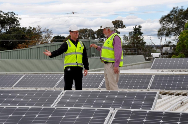 WSROC President Cr Barry Calvert in panels on the Hawkesbury Council Administration Precinct