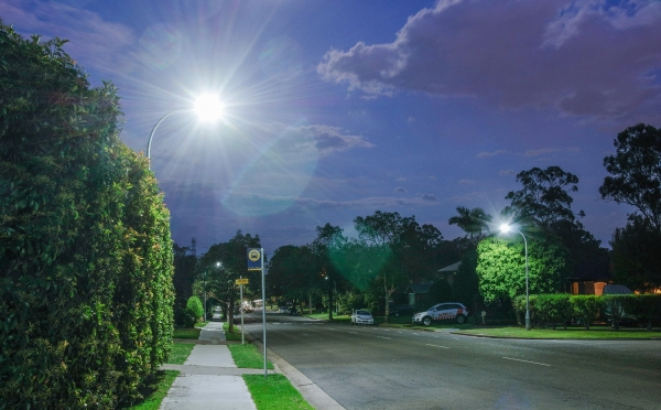LED street light installed at bus stop in Western Sydney
