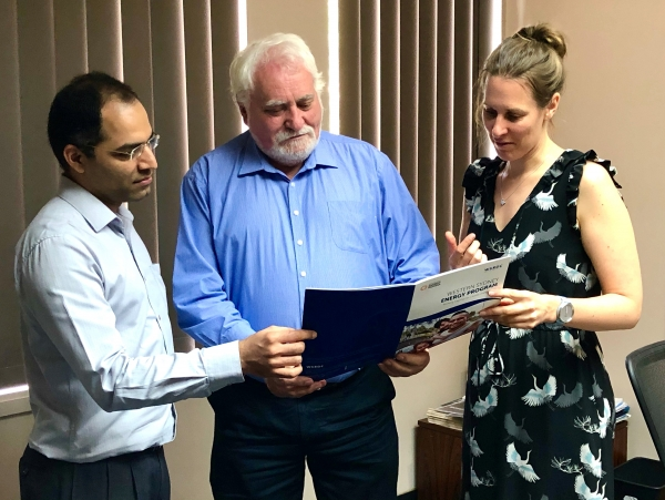 WSEP Project Coordinator Judith Bruinsma, right, and Project Consultant Ankit Kamra of Ironbark Sustainability, left, with WSROC President Barry Calvert