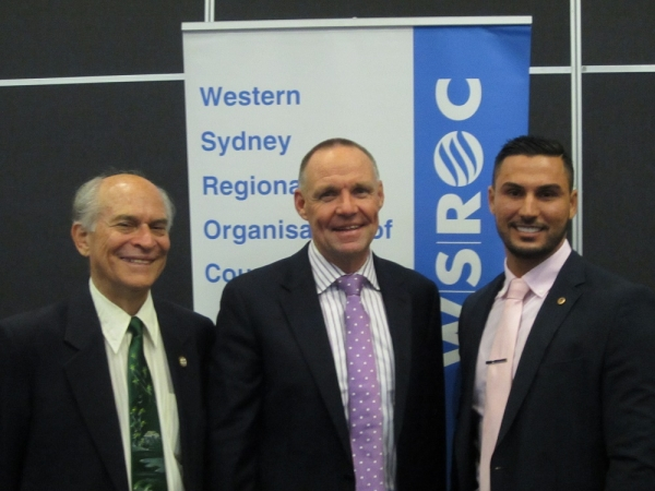 Top left: Adam Searle MP. Above: Cllr George Campbell (Auburn), Mark Brisby (Auburn General Manager), Cllr Salim Mehajer (Auburn Deputy Mayor and WSROC Treasurer) (Left to right).
