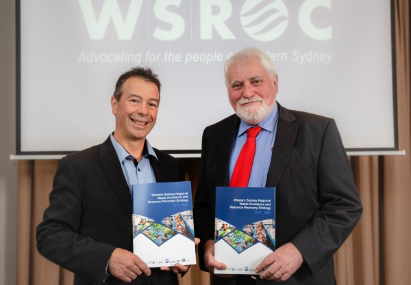 WSROC CEO Charles Casuscelli and WSROC Vice President Cr Barry Calvert at the launch of the Western Sydney Regional Waste Avoidance and Resource Recovery Strategy 2017 - 2021.