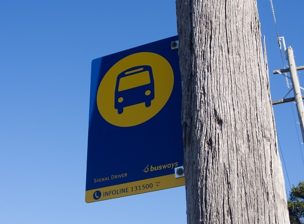 Bus stop sign in Western Sydney.