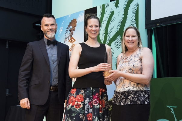 WSROC staff accepting the Green Globe Award (left to right): Awards Judge Robin Mellon, Light Years Ahead Project Coordinator Judith Bruinsma, Light Years Ahead Project Manager Michelle Playford.