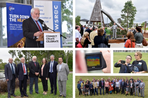 Top left: WSROC President Cr Barry Calvert launching the Turn Down the Heat Strategy. Top right: Blacktown CEO Kerry Robinson talking to guests about the opportunities and challenges for heat mitigation in new developments. Bottom left: Members of the WSROC Executive and Turn Down the Heat Steering Committee (left to right): Cr Don McGregor, Cr George Campbell, Cr Barry Calvert, Beck Dawson, Professor Phillip O'Neill and Charles Casuscelli. Bottom left: Launch participants test heat absorption of various building materials with temperature sensor gun.