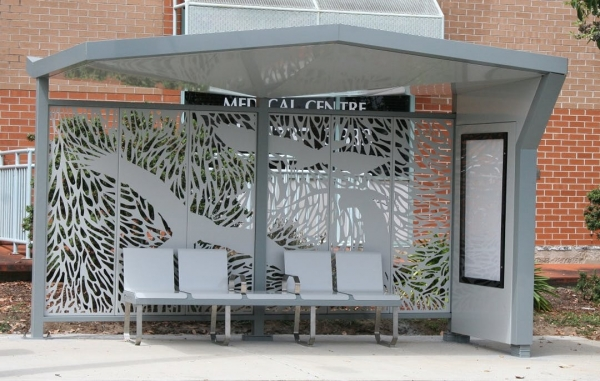 Newly installed Climate Adapted People Shelter at Nepean Hospital, Penrith.
