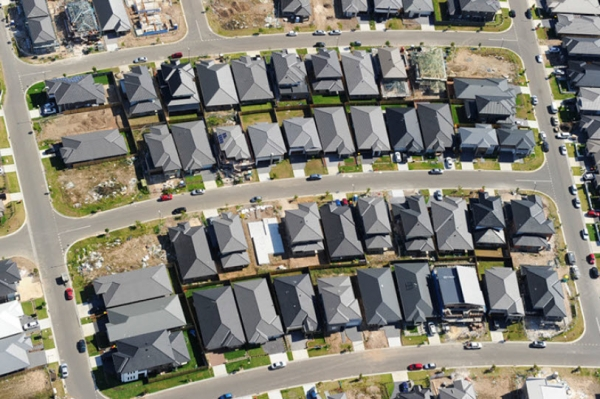 Grey roofs in new Western Sydney housing estate
