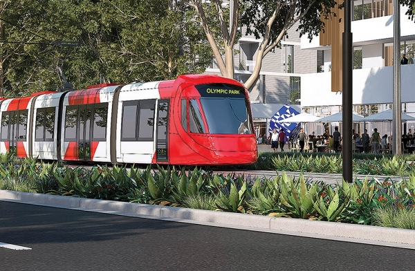Artist's impression of Parramatta Light Rail heading towards Olympic Park.