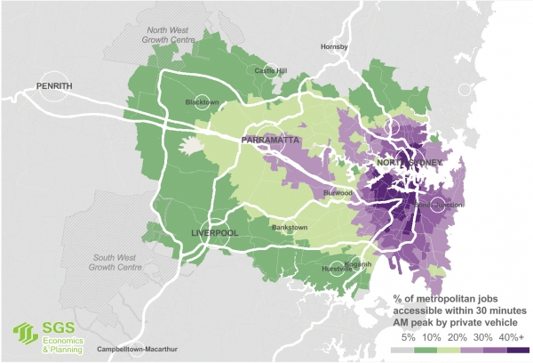 Map showing the percentage of jobs accessible within a 30 minute car trip across Sydney.